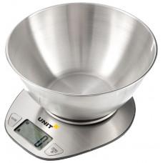 Весы кухонные электронные с чашей UNIT UBS-2153 (нерж) (5 кг)