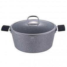 Кастрюля с крышкой Berlinger Haus BH-1152 Grey Stone Touch Line 24см/ 4,1л серый мрамор