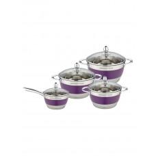 Набор посуды Mercury MC - 7016 (2) 8 предметов 4,9/2,9/2,1/1,5 л нерж.с сирень. вставкой