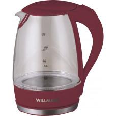 Чайник Willmark WEK-1708G (1,7л,стекло,бордовый,подсветка)